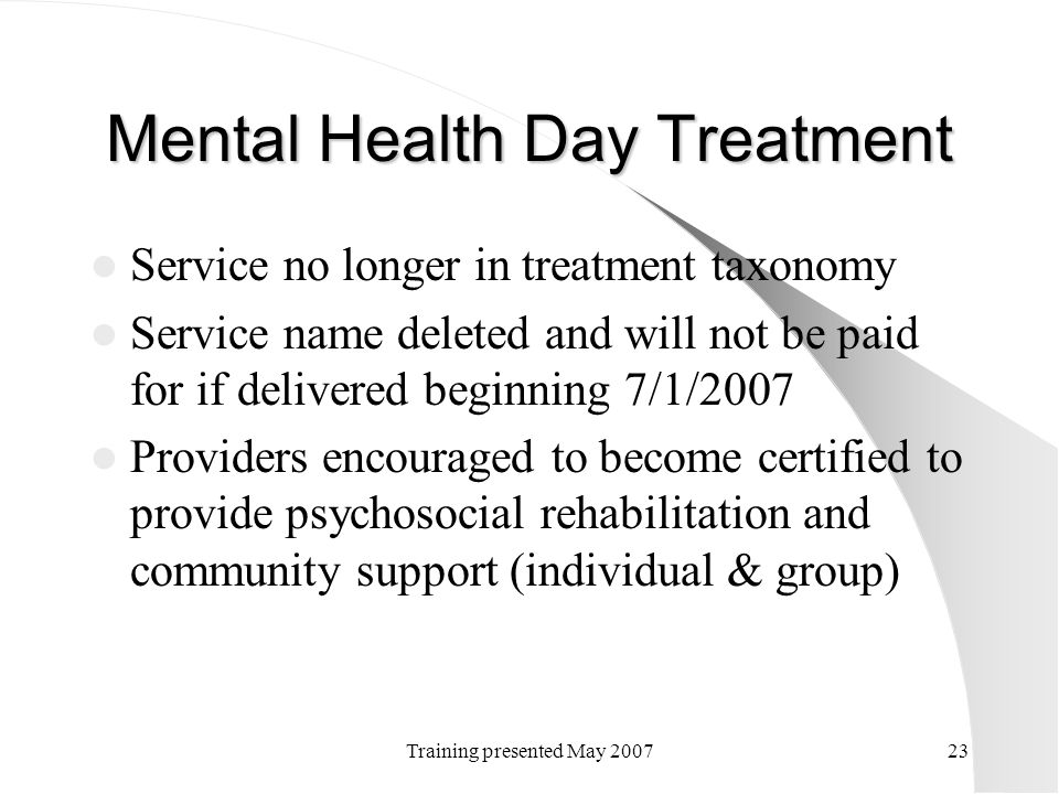 Mental Health Day Treatment