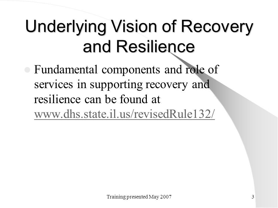 Underlying Vision of Recovery and Resilience