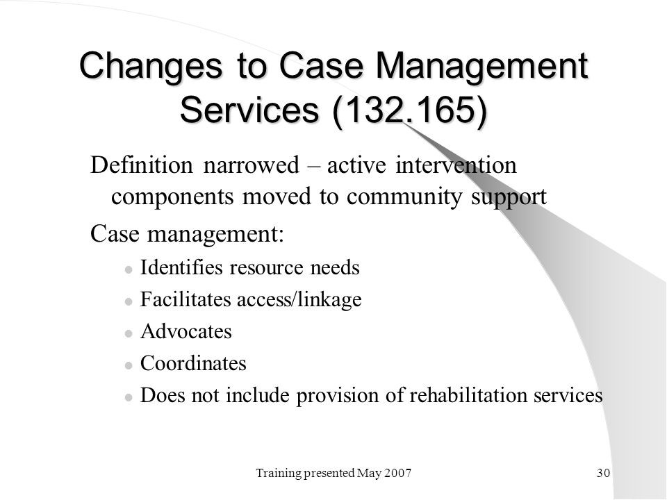 Changes to Case Management Services (132.165)