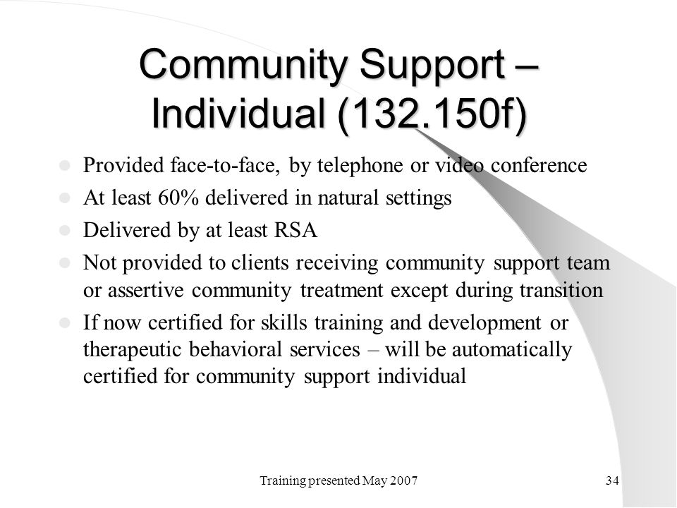 Community Support – Individual (132.150f)