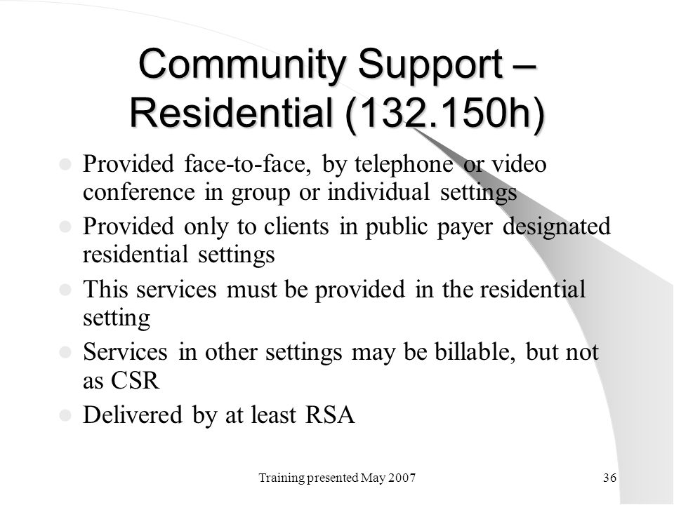 Community Support – Residential (132.150h)