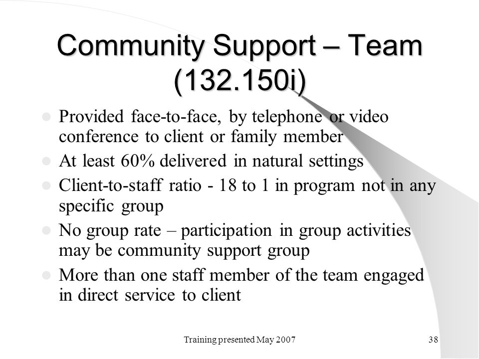 Community Support – Team (132.150i)