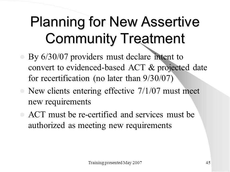 Planning for New Assertive Community Treatment