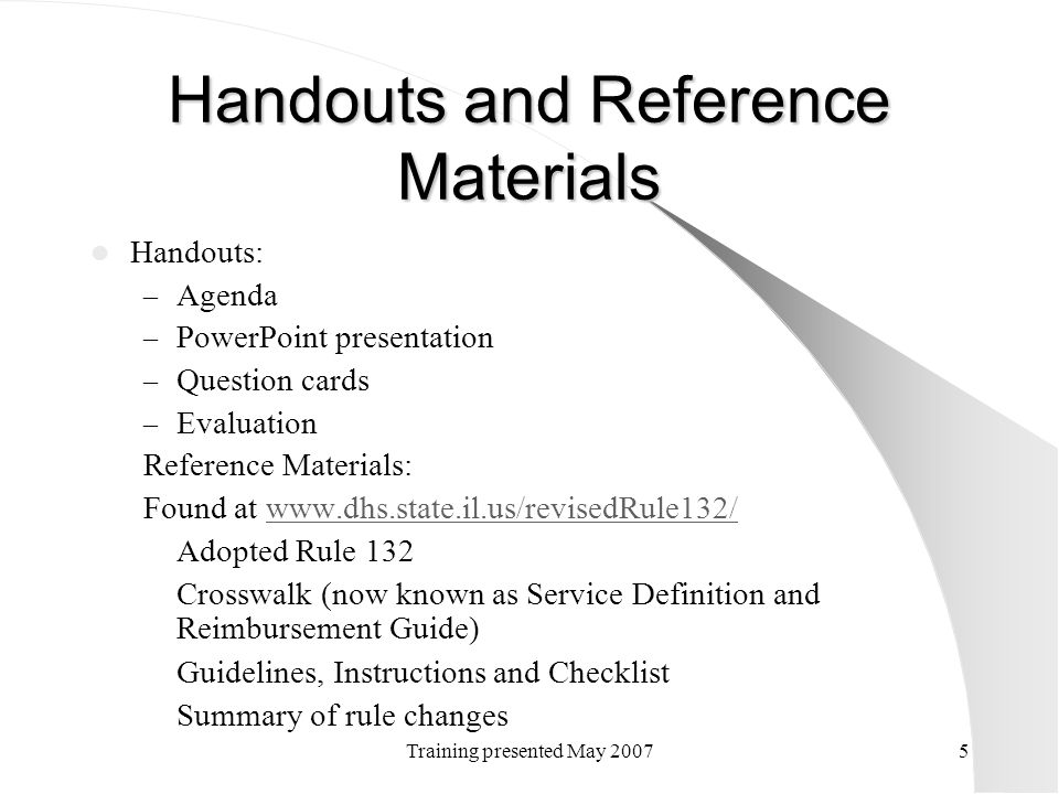 Handouts and Reference Materials