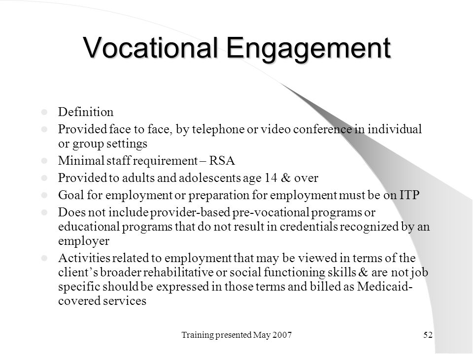 Vocational Engagement