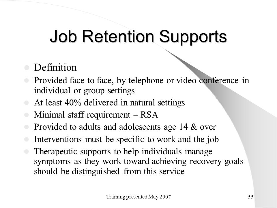 Job Retention Supports