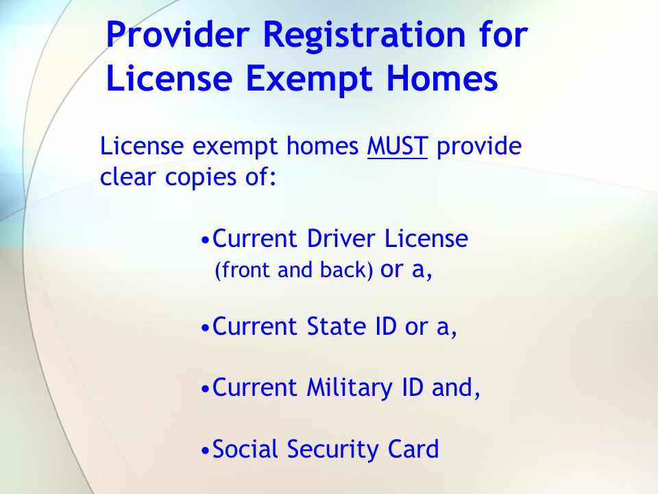 Provider Registration for License Exempt Homes