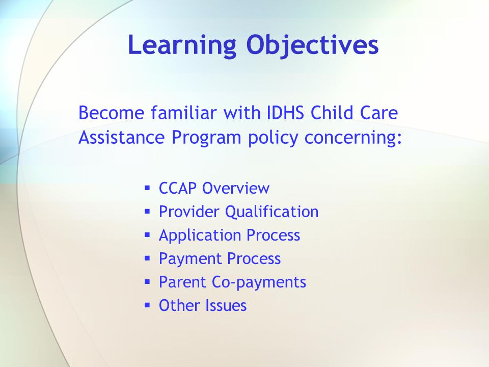 Learning Objectives Become familiar with IDHS Child Care