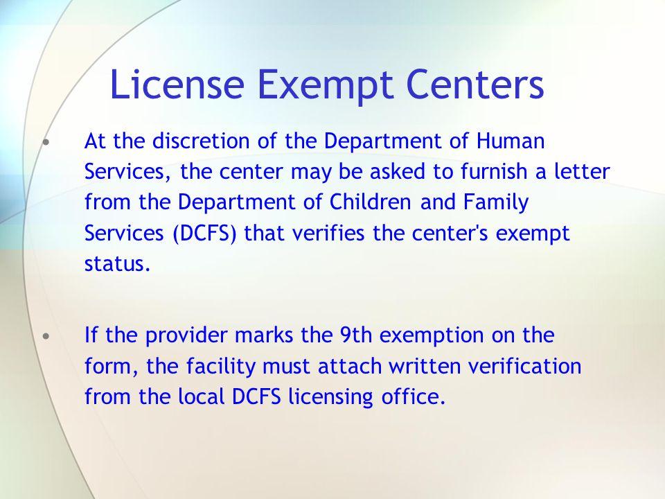 License Exempt Centers