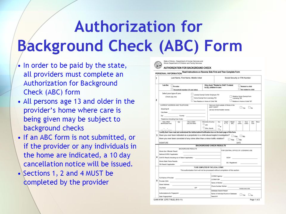 Authorization for Background Check (ABC) Form