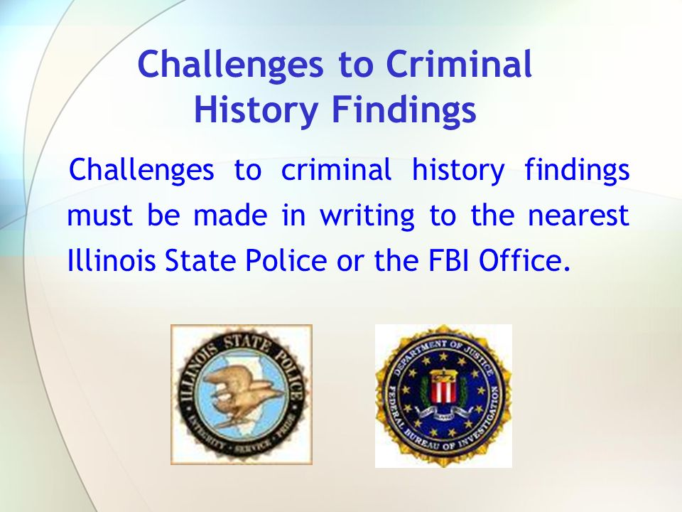 Challenges to Criminal History Findings