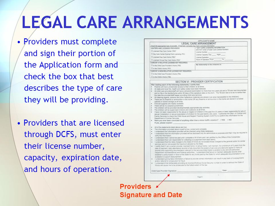 LEGAL CARE ARRANGEMENTS