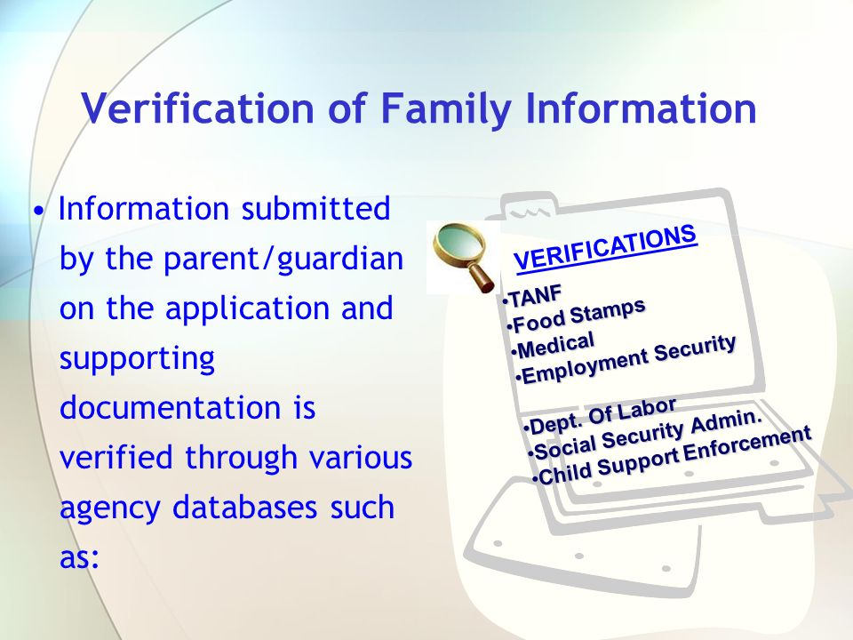 Verification of Family Information