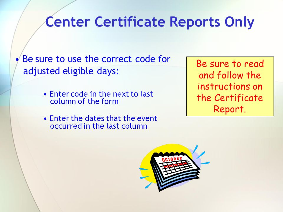 Center Certificate Reports Only
