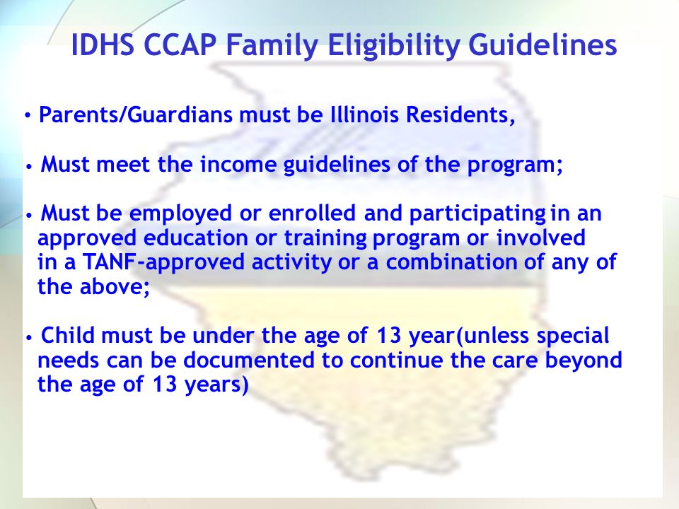 IDHS CCAP Family Eligibility Guidelines