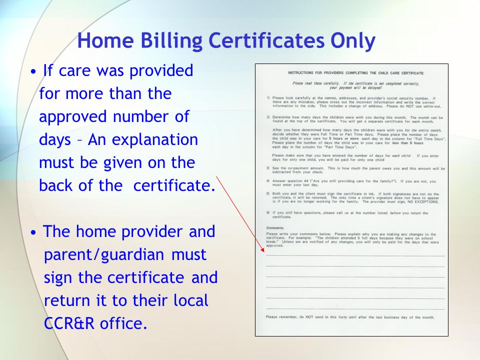 Home Billing Certificates Only