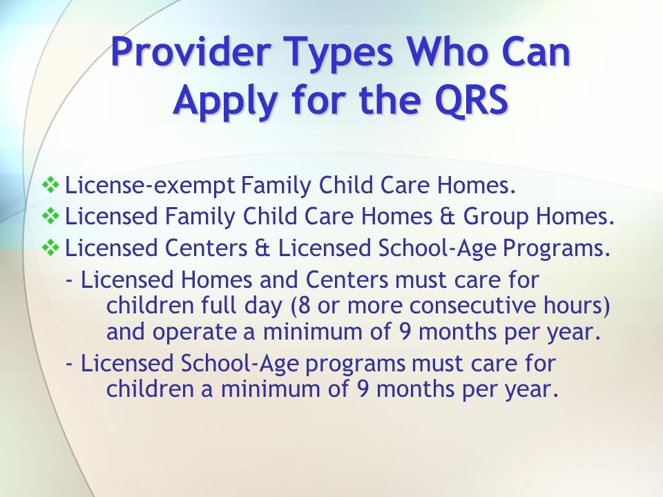 Provider Types Who Can Apply for the QRS