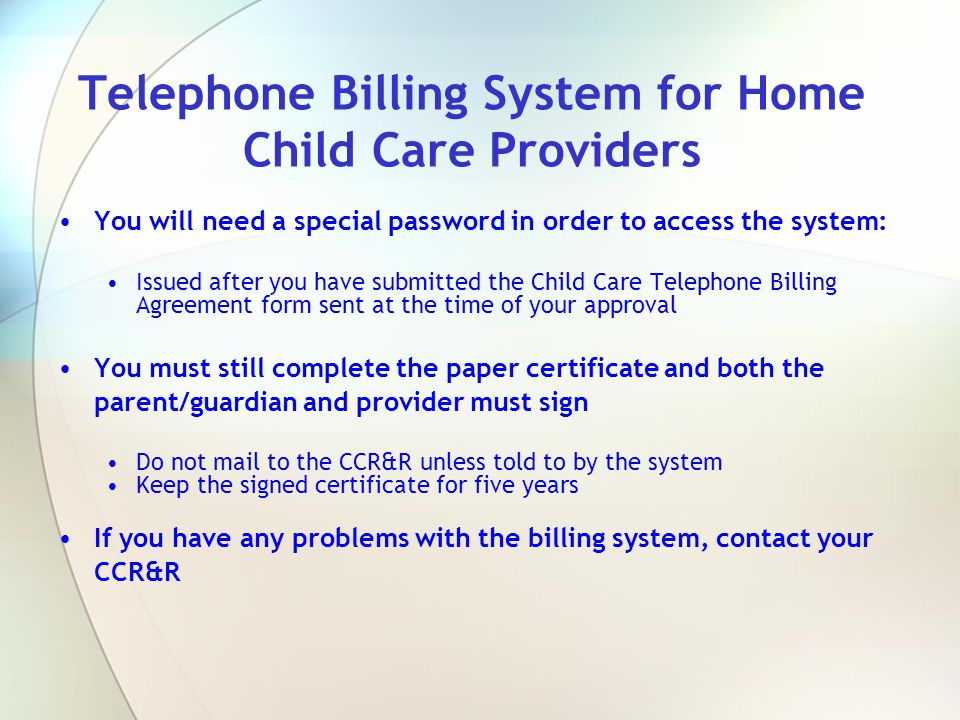 Telephone Billing System for Home Child Care Providers