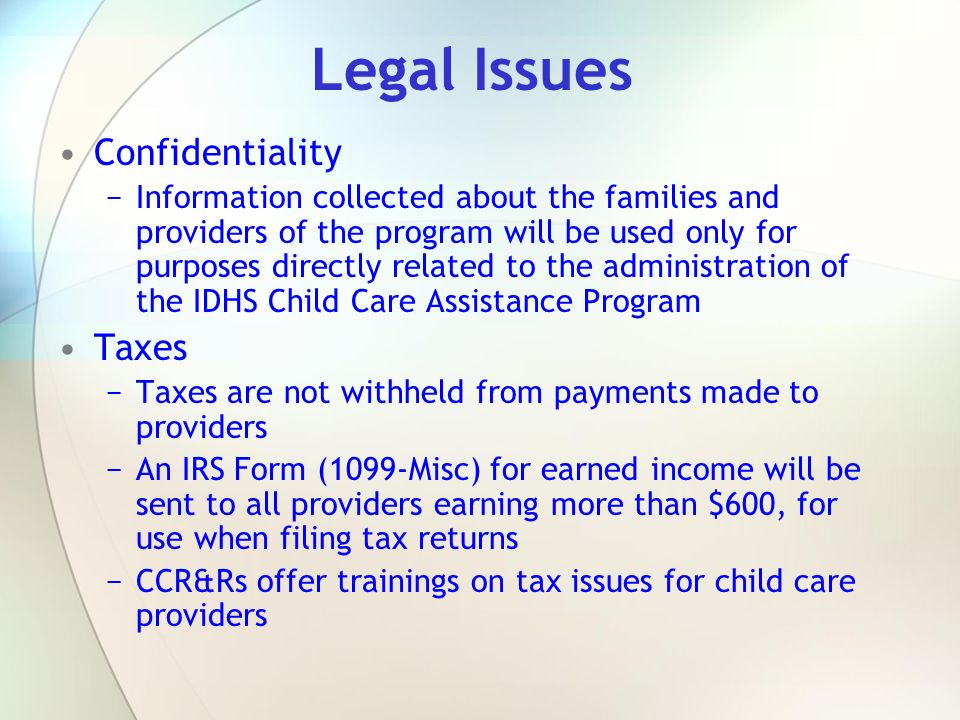 Legal Issues Confidentiality Taxes