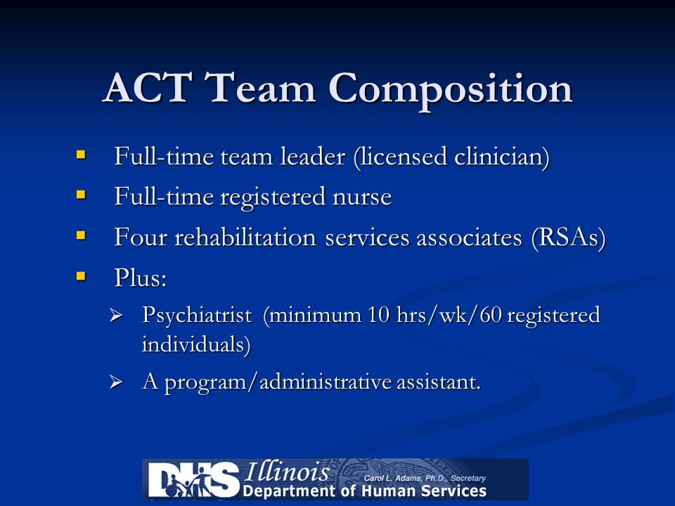 ACT Team Composition Full-time team leader (licensed clinician)