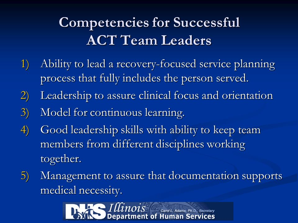 Competencies for Successful ACT Team Leaders
