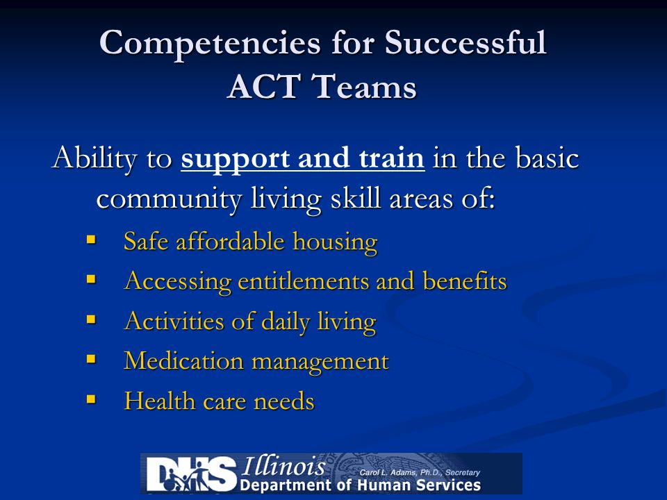 Competencies for Successful ACT Teams