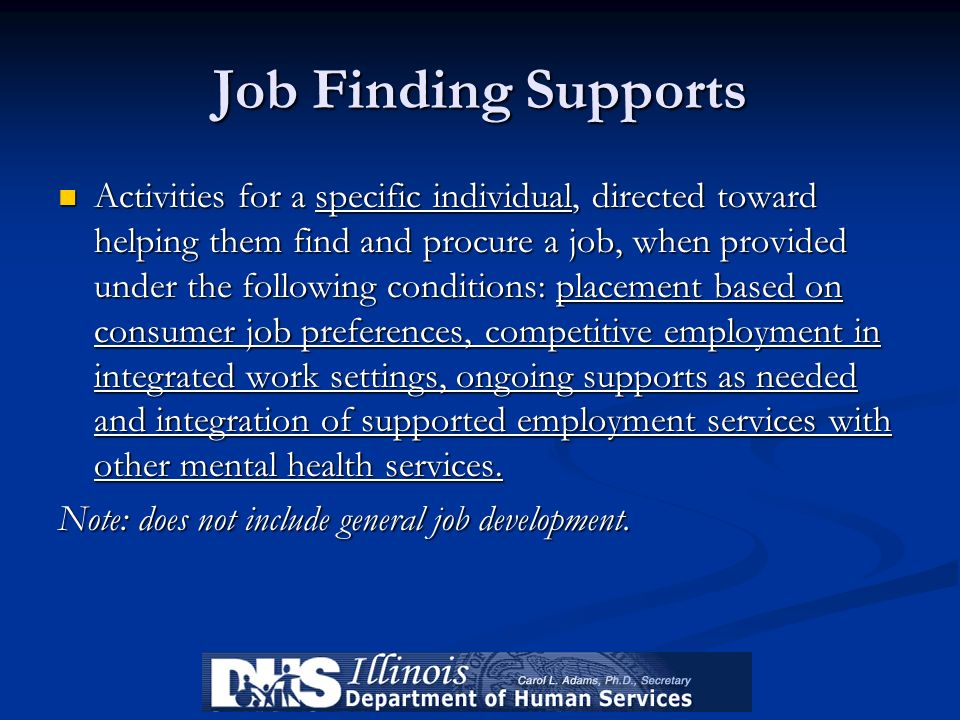 Job Finding Supports