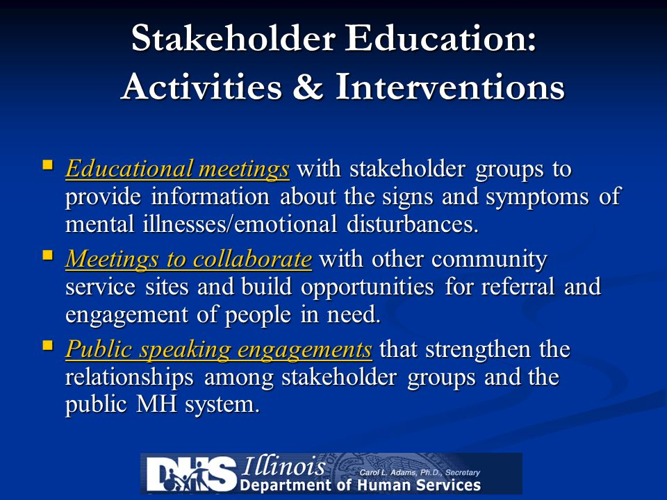 Stakeholder Education: Activities & Interventions