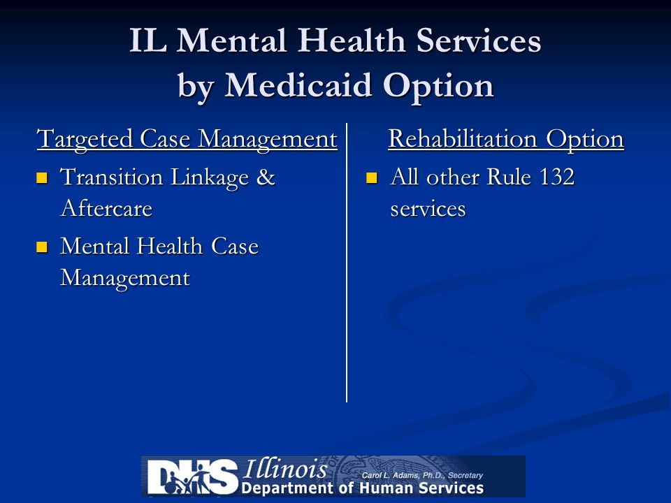 IL Mental Health Services by Medicaid Option