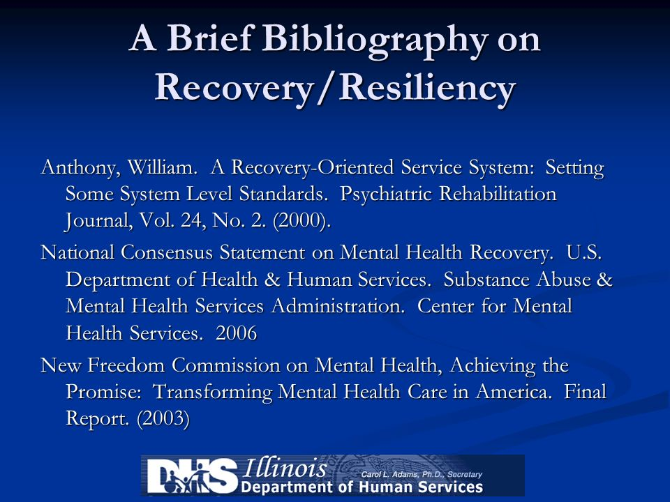 A Brief Bibliography on Recovery/Resiliency