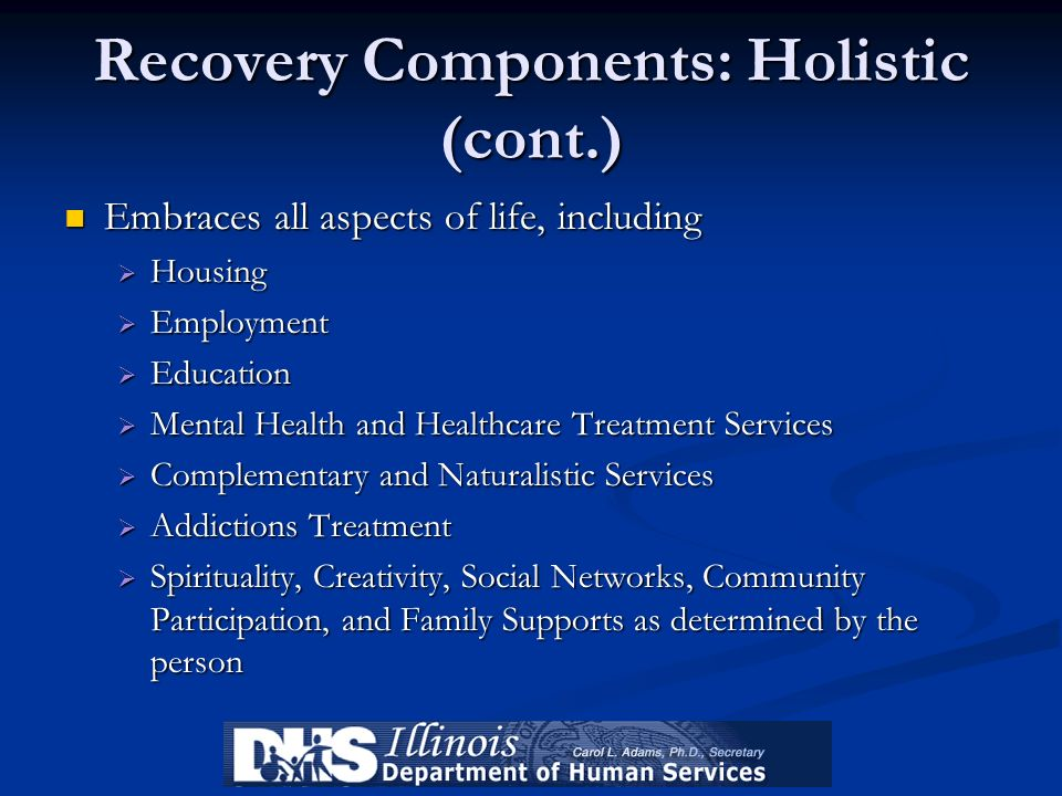 Recovery Components: Holistic (cont.)