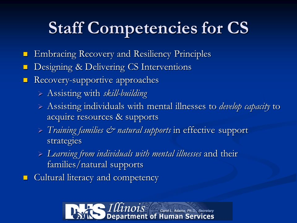 Staff Competencies for CS