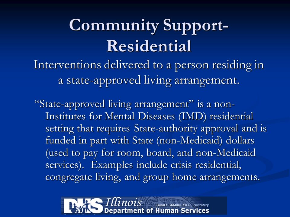 Community Support-Residential Interventions delivered to a person residing in a state-approved living arrangement.