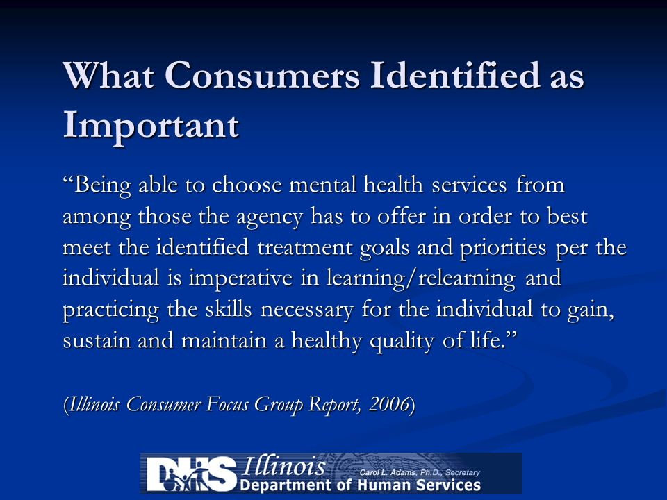 What Consumers Identified as Important Being able to choose mental health services from among those the agency has to offer in order to best meet the identified treatment goals and priorities per the individual is imperative in learning/relearning and practicing the skills necessary for the individual to gain, sustain and maintain a healthy quality of life. (Illinois Consumer Focus Group Report, 2006)