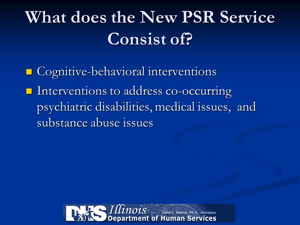 What does the New PSR Service Consist of