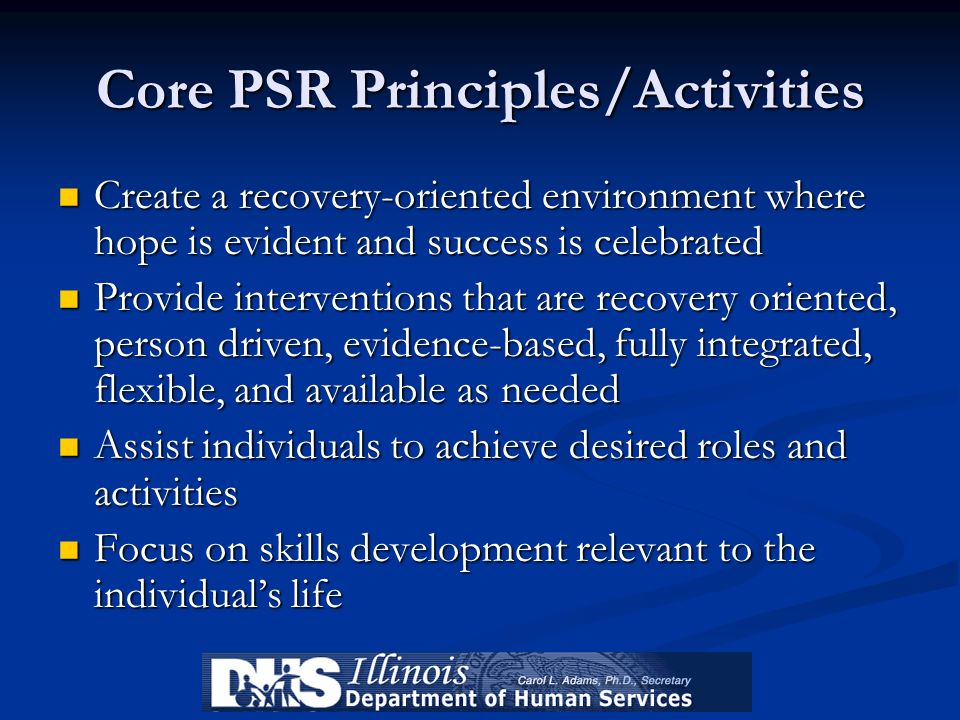 Core PSR Principles/Activities