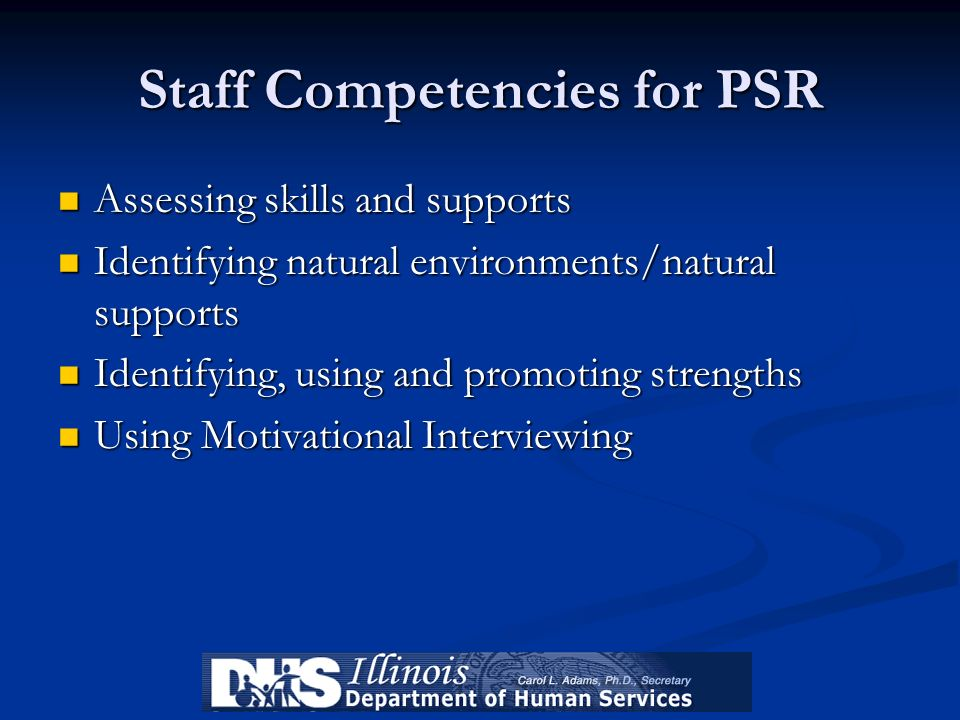 Staff Competencies for PSR