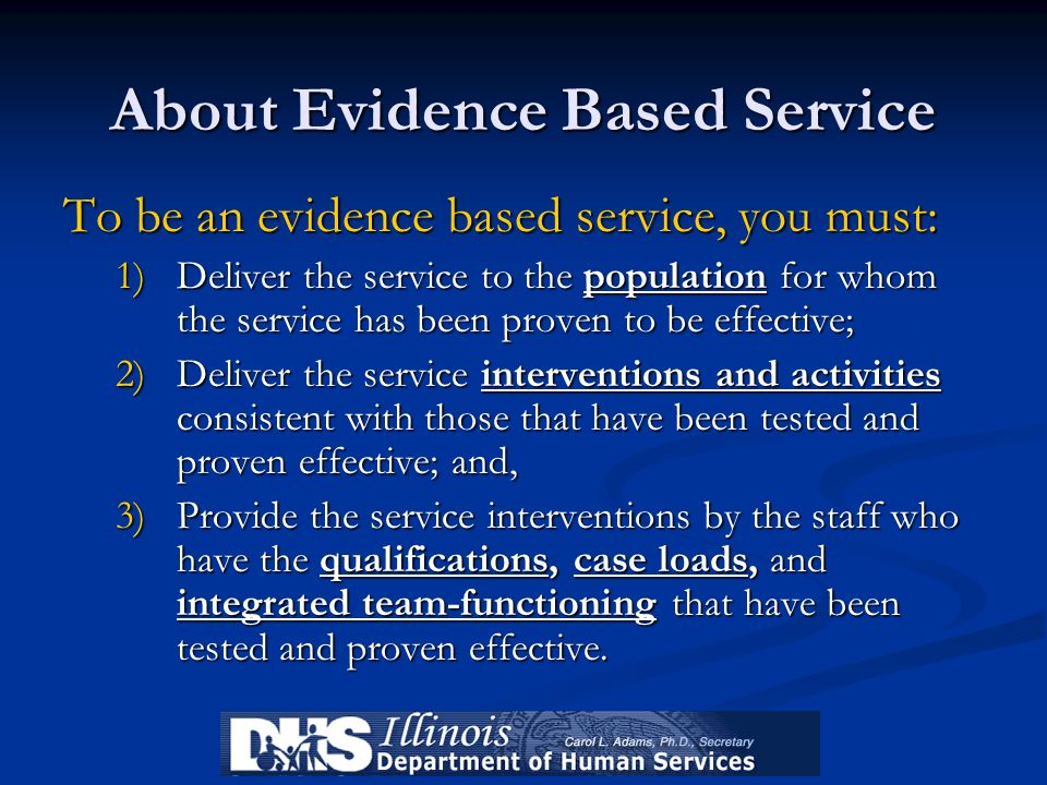 About Evidence Based Service