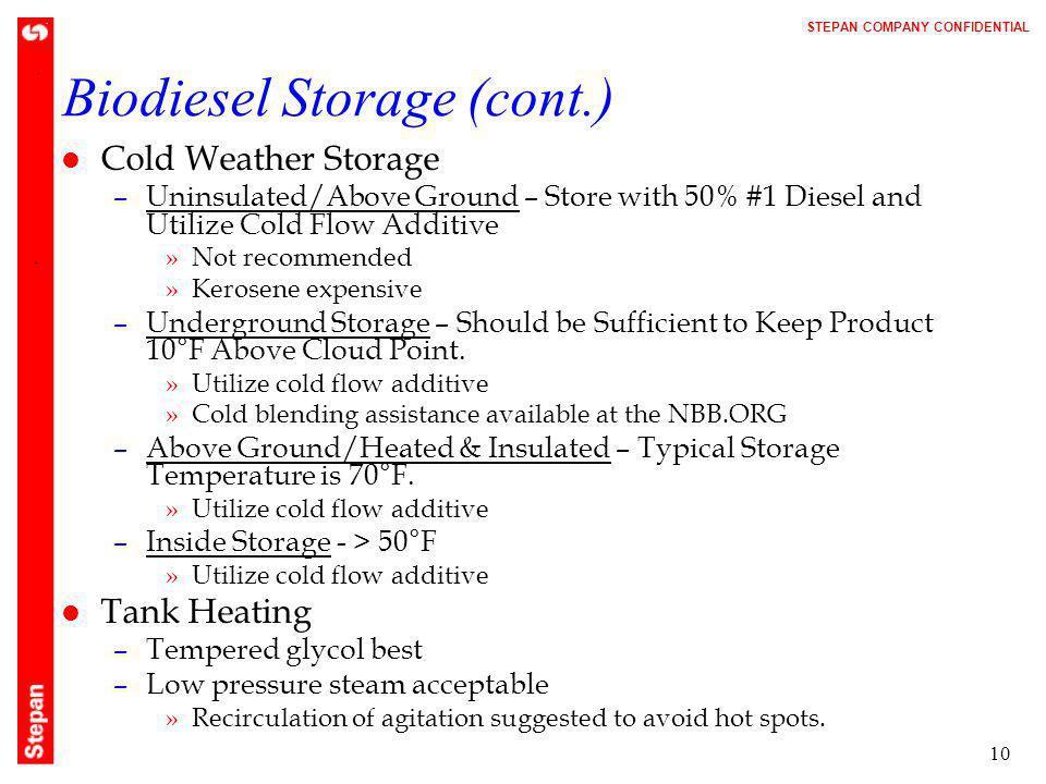 Biodiesel Storage (cont.)