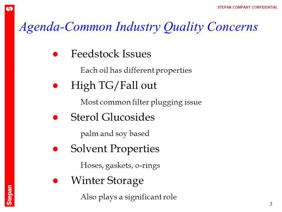 Agenda-Common Industry Quality Concerns