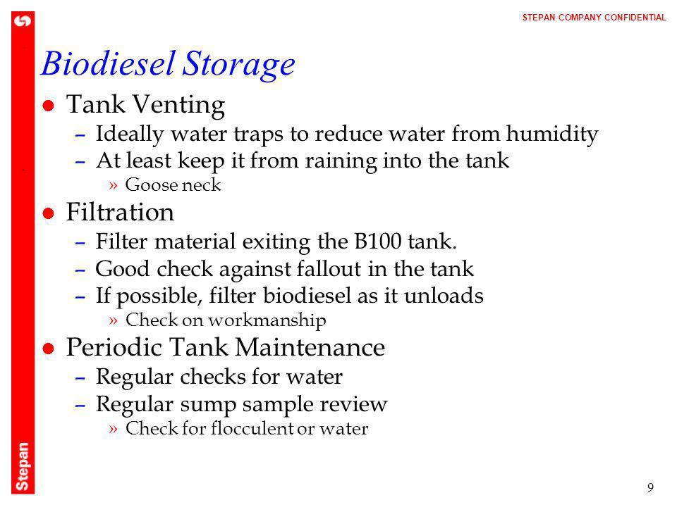 Biodiesel Storage Tank Venting Filtration Periodic Tank Maintenance