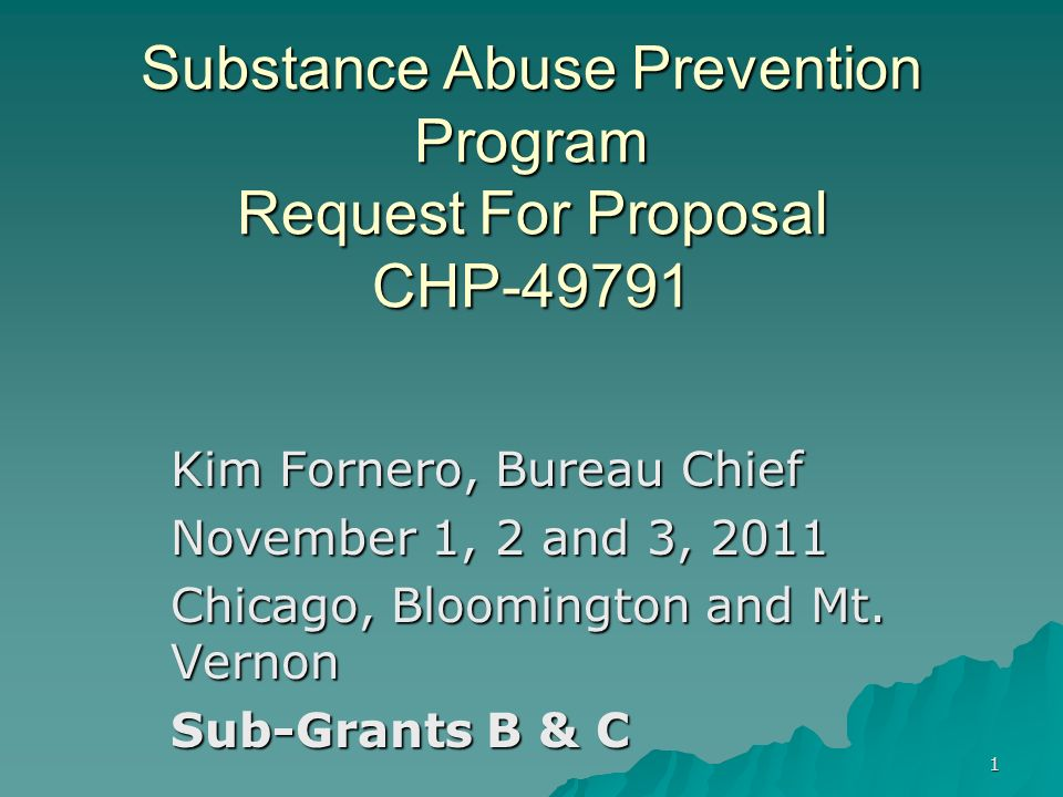 Substance Abuse Prevention Program Request For Proposal CHP-49791
