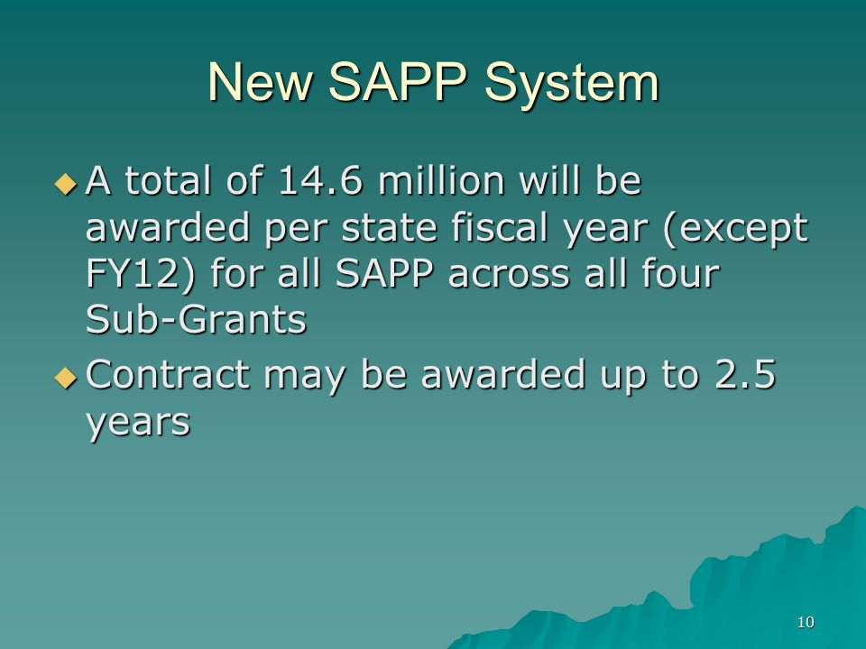 New SAPP System A total of 14.6 million will be awarded per state fiscal year (except FY12) for all SAPP across all four Sub-Grants.
