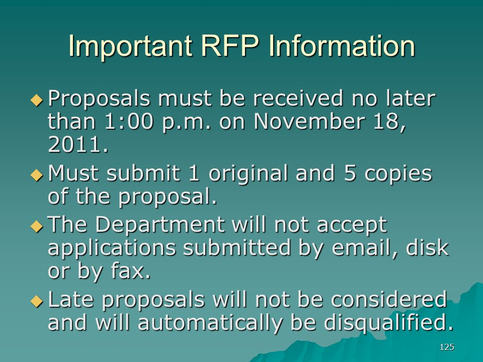 Important RFP Information