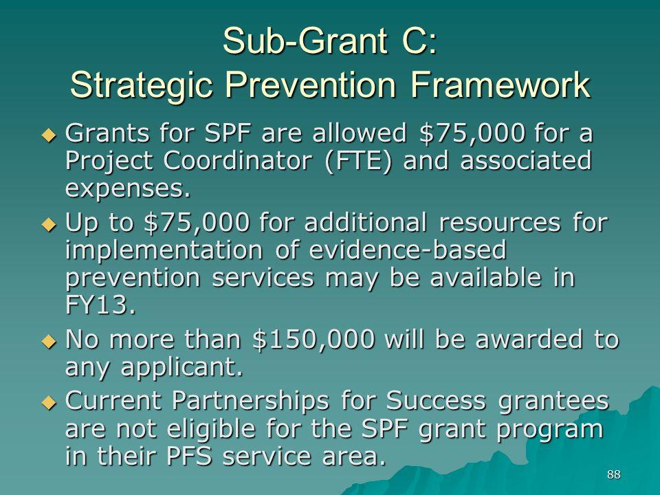 Sub-Grant C: Strategic Prevention Framework