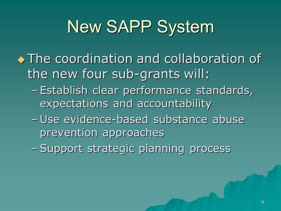New SAPP System The coordination and collaboration of the new four sub-grants will: