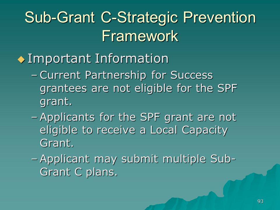 Sub-Grant C-Strategic Prevention Framework
