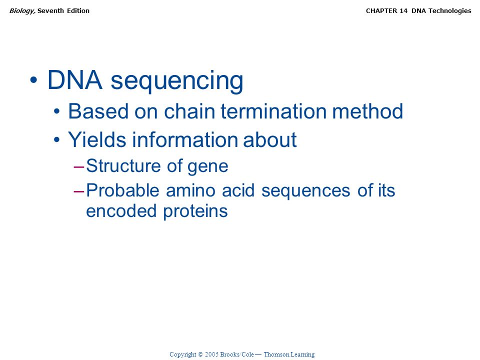 DNA sequencing Based on chain termination method