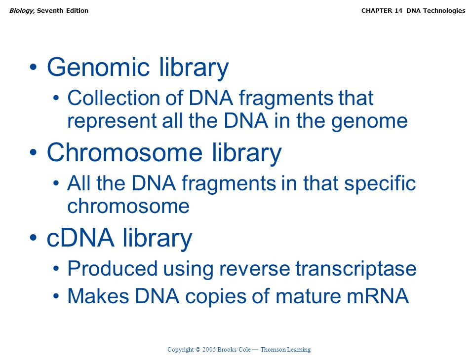 Genomic library Chromosome library cDNA library