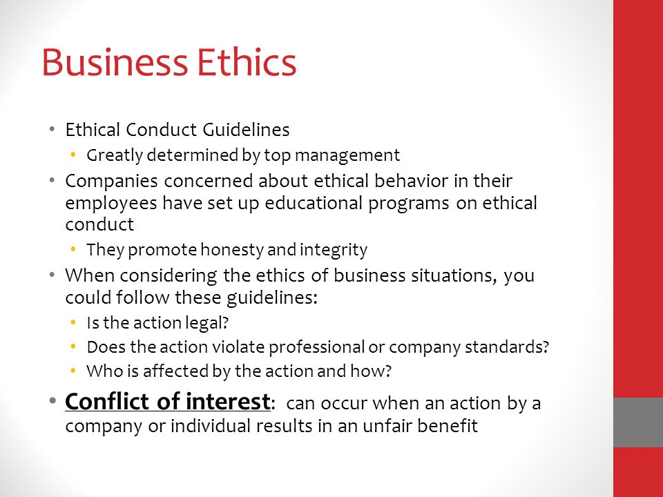 guideline for business ethic About the business conduct and ethics code  our core values and highlights the principles that guide our business conduct it provides questions and answers.